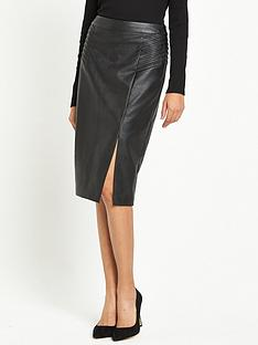 oasis-faux-leather-pintuck-wrap-pencil