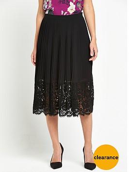 oasis-pleated-lace-trim-skirt-black