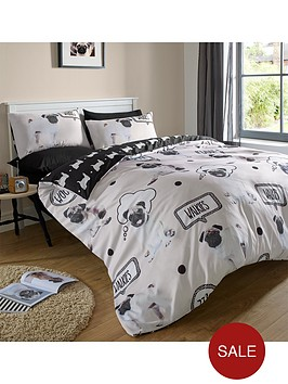 walkies-pug-duvet-set-multi
