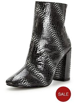 miss-selfridge-snake-block-heel-boot