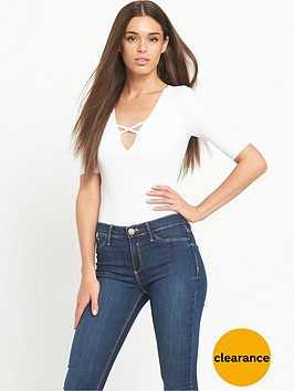 river-island-ribbed-v-neck-bodysuit