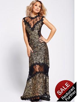 myleene-klass-metallic-lace-maxi-dress-blackgold