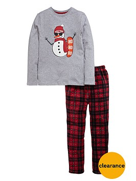 v-by-very-boys-christmas-snowman-jersey-and-fleece-pyjamas