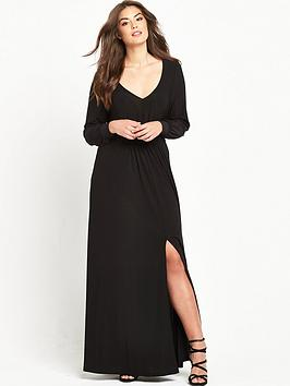 so-fabulous-long-sleeve-plunge-maxi-dress