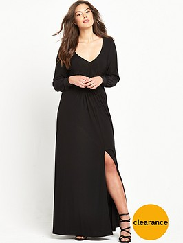 so-fabulous-long-sleeve-plunge-maxi-dress