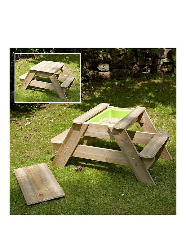 Enjoyable Early Fun Wooden Picnic Table Sandpit Pabps2019 Chair Design Images Pabps2019Com