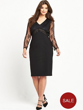 so-fabulous-lace-sleeve-beaded-top-dress-black