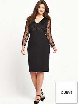 v-by-very-curve-lace-sleeve-beaded-top-dress-black