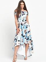 Chi Chi London Floral Print Bardot Dip Hem Maxi Dress