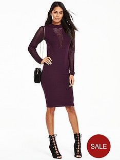v-by-very-knitted-bodycon-midi-dress-with-mesh-sleeves