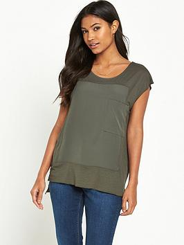 warehouse-pocket-woven-mix-t-shirt-khaki