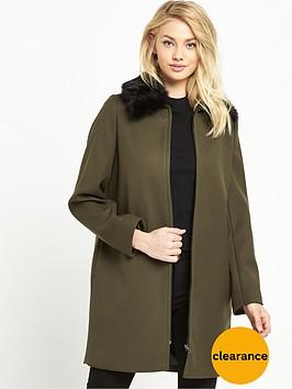 warehouse-zip-front-crepe-coat-khaki