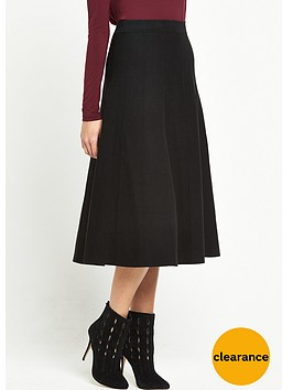 warehouse-fit-and-flare-knitted-skirt-black