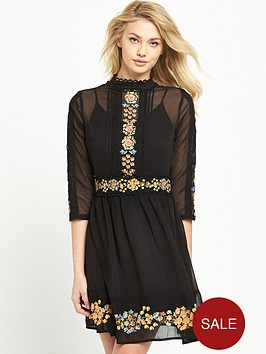 miss-selfridge-embroidered-skater-dress-black