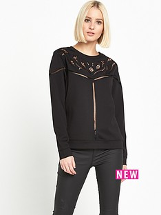 miss-selfridge-cutwork-yoke-sweat-black