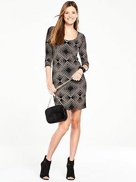 wallis-geo-sparkle-dress-black