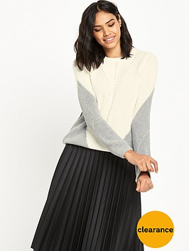 miss-selfridge-zip-back-colourblock-jumper
