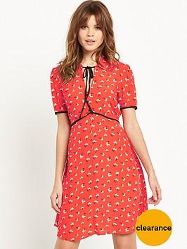 miss-selfridge-printed-tie-neck-tea-dress