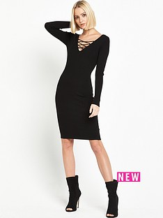 miss-selfridge-lace-up-rib-dress