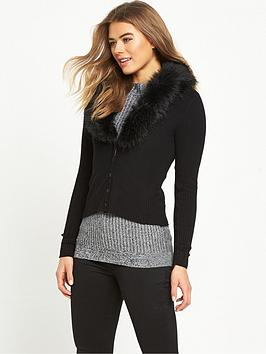 miss-selfridge-fauxnbspfur-collar-cardigan-black