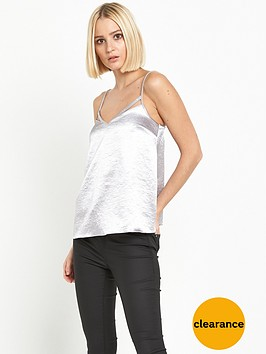 miss-selfridge-satin-bar-cami-silver