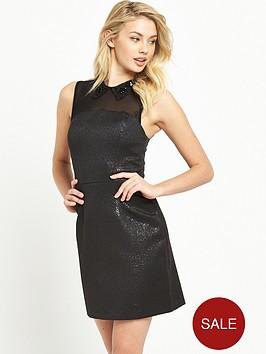 miss-selfridge-black-collar-metallic-dress
