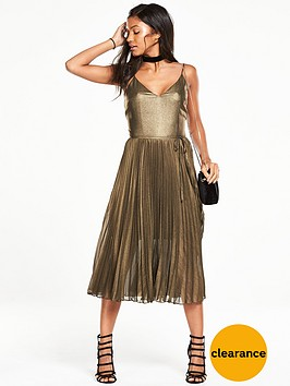 oasis-metallic-pleated-cami-dress
