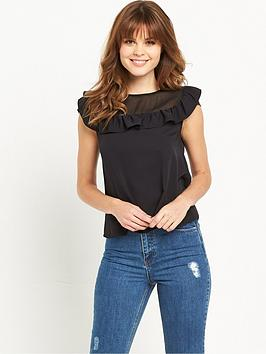 miss-selfridge-sheer-panel-frilled-shell-top