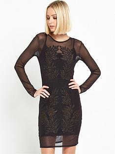 miss-selfridge-long-sleeve-sheer-embroidered-dress-black