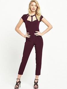 miss-selfridge-petite-cage-neck-detail-jumpsuit-burgundy