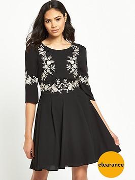 oasis-osaka-embroidered-skater-dress-black