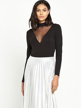 miss-selfridge-high-neck-mesh-plunge-body