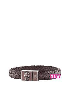 police-antique-silver-plate-brown-weave-leather-skull-detail-magnetic-bracelet