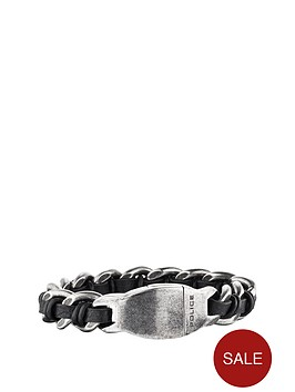 police-stainless-steel-black-and-brown-leather-magnetic-buckle-bracelet
