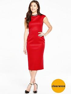 ted-baker-high-neck-embellished-dress-red