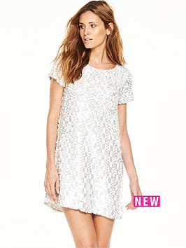 french-connection-french-connection-snow-sequins-round-neck-tunic-dress