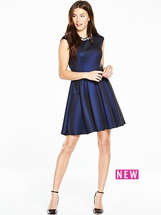 ted-baker-embellished-neck-skater-dress
