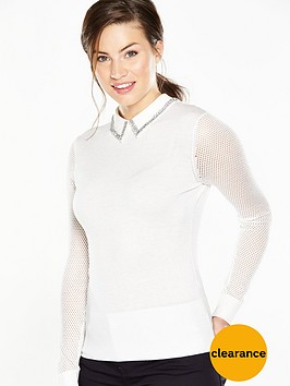 ted-baker-metallic-knit-woven-collar--nbspcream