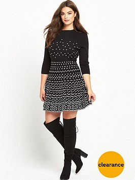 so-fabulous-mono-spotted-knitted-dress