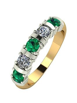 moissanite-9ct-gold-1ct-eq-emerald-and-moissanite-bar-set-5-stone-ring