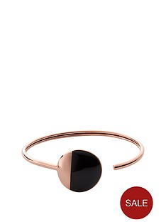skagen-rose-gold-plated-black-circle-cuff