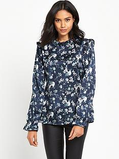 vila-plinny-frill-neck-printed-blouse
