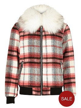 river-island-girls-check-bomber-jacket-with-faux-fur-collar