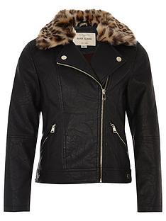 river-island-mini-girls-leopard-print-trim-biker-jacket