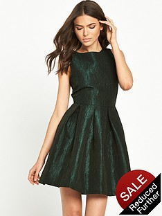 vila-metallic-textured-skater-dress-ponderosa-pine