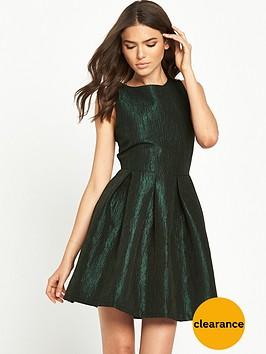 vila-metallic-textured-skater-dress-ponderosa-pine