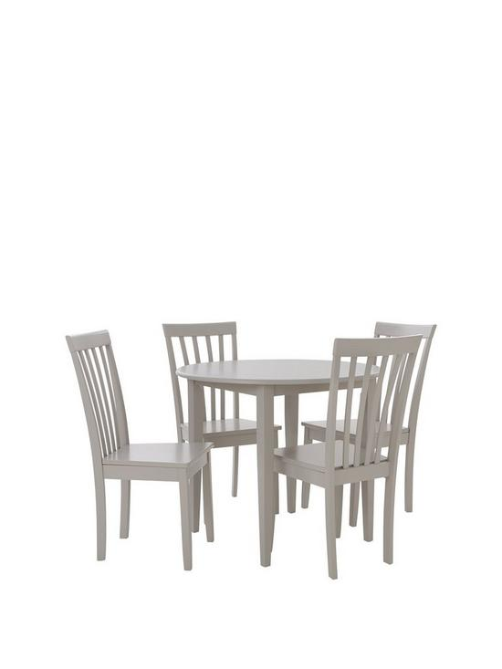 Sophia 90 Cm Round Dining Table 4 Chairs Grey Verycouk