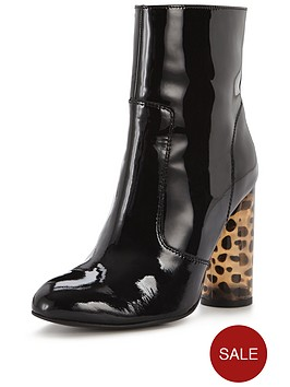 office-office-animal-printed-heel-heeled-ankle-boot