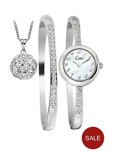 limit-silver-tone-dial-bracelet-bangle-and-pendant-ladies-gift-set
