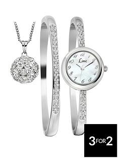 limit-silver-tone-dial-bracelet-bangle-and-pendant-ladies-gift-set